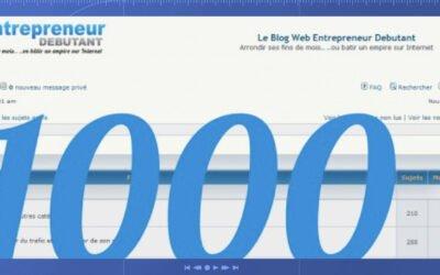 1000 euros de cadeaux pour les 1000 membres du forum web entrepreneur débutant